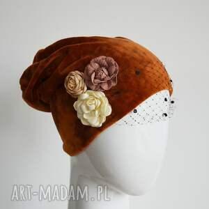 ruda czapka welurowa, czapka, welur, rudy, woalka, prezent na święta