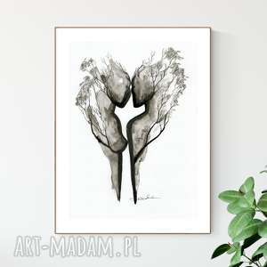 hand-made dekoracje grafika 30x40 cm wykonana ręcznie, plakat, abstrakcja, elegancki