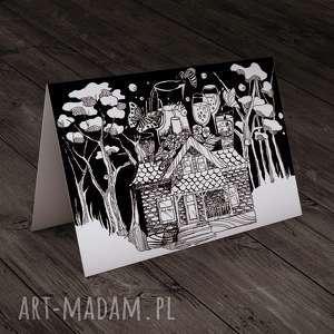 parallel world życzenia karteczka, czarno-biały, dom, życzenia, kartka, urodziny