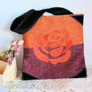 torba na zakupy - róża bordo z rudym, torba, shoperka, zakupy