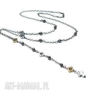 crucifix vol 4 - naszyjnik, srebro, oksydowane, krzyżyk, rózaniec, koniczynka