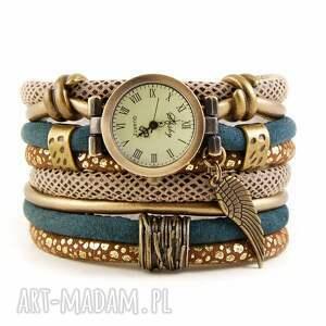 zegarek-bransoletka w stylu retro, zielono-złoty ze skrzydłem, zegarek