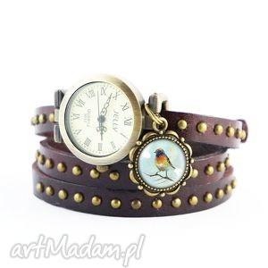 bransoletka, zegarek - kolorowy ptak brązowy, nity, skórzany, bransoletka