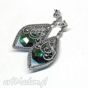 kolczyki emerald, kolczyki, zielony, kryształ, swarovski, srebro, szmaragdowe