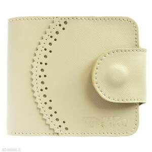 Portmonetka skórzana elizium beżowa portfele tenaro skórzana