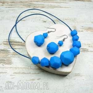 Komplet biżuterii - geomtryczne kule niebieski, komplet, kule, geometryczne