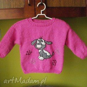 Sweterek Pieseczek , sweterek, rękodzieło, włóczka, niemowlę