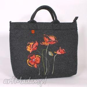 duża filcowa torba z haftem maków, torebka, torba, laptop, filcowa, maki, a4