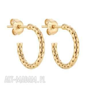 złote ażurowe kolczyki półkola, grube, koła, kółka, pozłacane, eleganckie