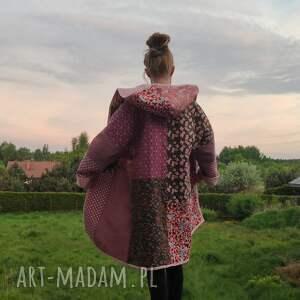 płaszcz patchworkowy długi z kapturem, kimonowy w stylu boho - waciak