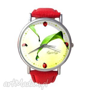 biedronki - skórzany zegarek z dużą - dziewczęcy, liście