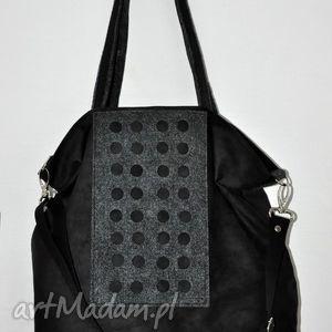 na ramię torba hobo xxl - czerń, grafit, alcantara, filc, torebki