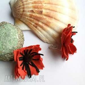 klipsy kwiaty maki lekkie duże flamenco, maki, klipsy, etno, prezent, boho