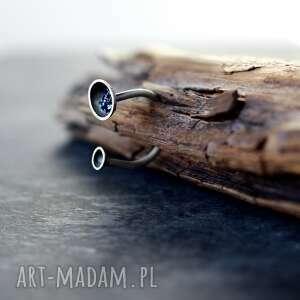 srebrny pierścionek organiczny, minimalistyczny z druzami