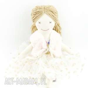 prezent na święta Lala ręcznie szyta w złotej sukience, lalkanaświęta, pierwsza-lala,
