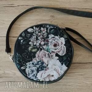 na ramię round bag - bajeczny ogród, kwiaty, elegancka, nowoczesna, prezent