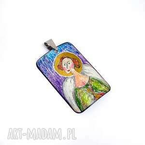 wisiorki wisiorek ręcznie rysowany i malowany, madonna, złocenie