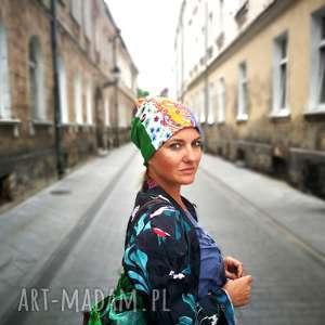 patchworkowa kolorowa boho etno damska czapka etno, czapka, boho, styl, dresowa