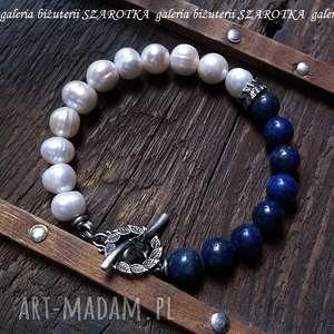 jagody w śmietanie bransoletka z naturalnych pereł, lapisu i srebra, perła, naturalna
