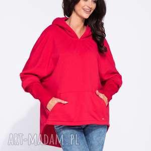 Czerwona bluza damska ovesrsize z kapturem, luźna, z-kapturem, kangurka, z-kieszenią