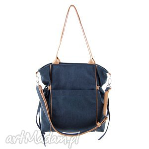 amber - duża torba shopper granatowa plecionka, trendy, prezent