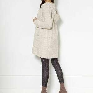 swetry długi kardigan z kapturem i kieszeniami swe138 beż, sweter, płaszcz