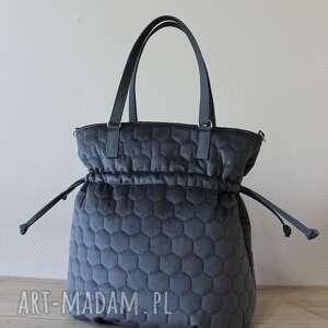 Shopper bag sack - szare plastry miodu na ramię torebki