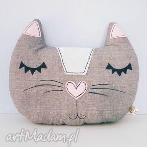 poduszka dekoracyjna kocia główka - ,poduszka,kot,kotek,kocia,szara,