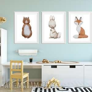 well zestaw 3 plakatów a3 / cudne zwierzaki, niedźwiedź, zajączek