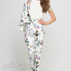 Spodnie, SD113 kwiaty, wstążka, szarfa, wysokie, pasek, praca