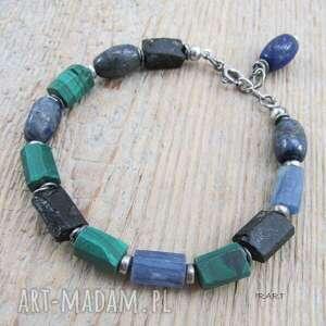 surowa,kolorowa bransoletka z malachitem, lapis lazuli, malachit, srebro