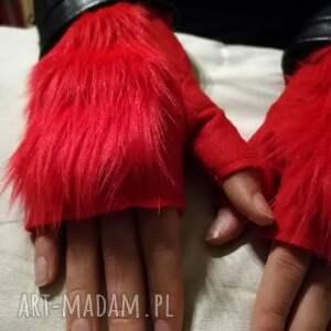 rekawiczki bezpalcowe z futerkiem czerwone, rękawiczki, filc, bezpalcowe, futro
