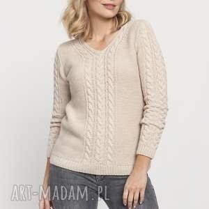 klasyczny sweterek, swe186 beż mkm, sweter, dekolt, warkocze
