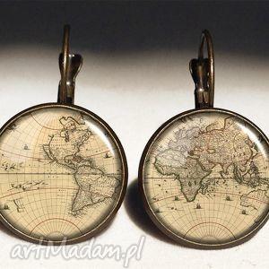 ręcznie robione kolczyki mapa świata - duże kolczyki wiszące