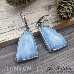 antilae eleganckie kolczyki z niebieskim opalem, niebieski opal, srebrne