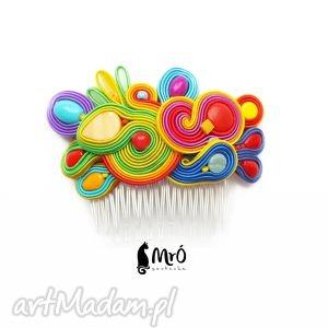bajkowy-grzebyk do włosów soutache, grzebyk, sutasz, kolorowy ozdoby