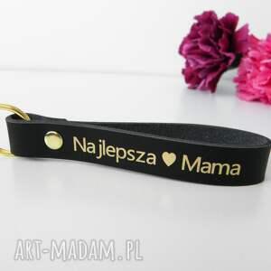 skórzany brelok breloczek do kluczy najlepsza mama - czarny prezent dzień