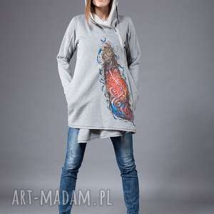 navahoclothing bluza malowana ręcznie navahoclothing, dzianina, płaszcz, długi z