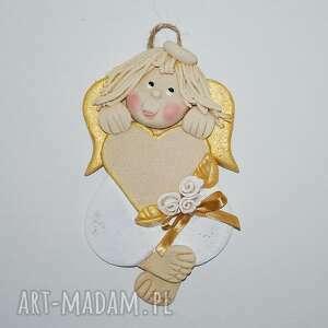 Magosza - dla adelki- aniołek z dedykacją anioł, masa solna, prezent, dedykacja, serce