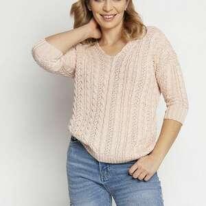 sweter ozdobiony warkoczami, swe213 róż mkm, cienki sweter, na wiosnę