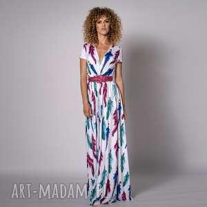 lorita - sukienka boho, piórka, zwiewna, rozkloszowana