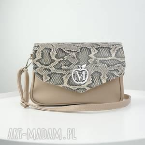 elegancka listonoszka beżowy odcień imitacja węża, torebka, listonoszka, manzana