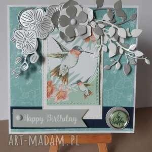m art a kartka urodzinowa z kolibrem, urodziny, kartka, scrapbooking, koliber