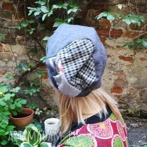 czapka damska szara góra patchwork - czapka, etno, boho, dzianina, damska, kolorowa