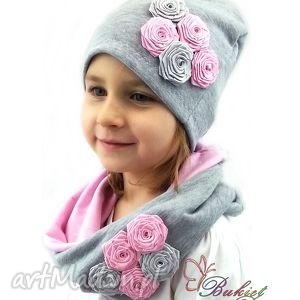 cienki komplet dla dziewczynki - czapka z kominem - czapka, czapki, komin, kominy