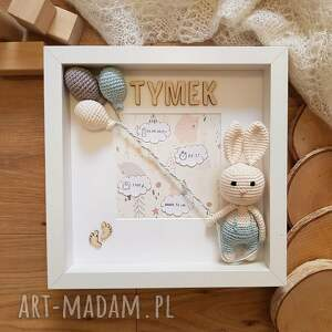 metryczka narodzin dziecka - błękitny króliczek (narodziny dziecka, prezent)