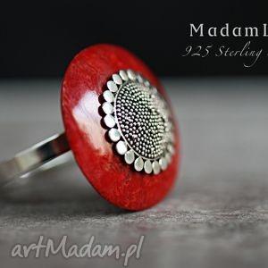 pierścionki 925 srebrny pierścionek koral ręcznie polerowany, koral, koralowiec