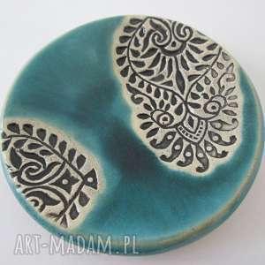 mały etniczny talerzyk - ,mydelniczka,ceramiczna,fusetka,podstawka,etno,