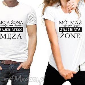 bluzki koszulki dla par mój mąż ma zajebistą żonę, ślub, prezent, para, chłopak