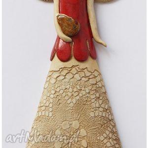 handmade ceramika anioł z torebką